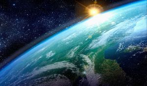 Preview wallpaper earth, sun, planet, surface, stars