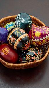 Preview wallpaper easter eggs, easter, eggs, basket
