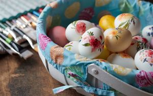 Preview wallpaper easter eggs, eggs, easter, basket, pattern