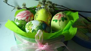 Preview wallpaper easter, holiday, eggs, boxes, tape, ribbon, willow, spring