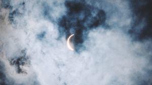Preview wallpaper eclipse, clouds, sun, moon
