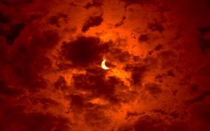 Preview wallpaper eclipse, moon, sun, sky, orange