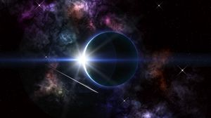 Preview wallpaper eclipse, planets, stars, glow, space
