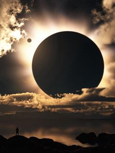 Preview wallpaper eclipse, sky, clouds, silhouette, person