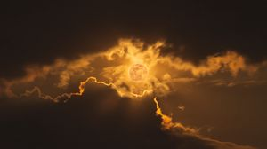 Preview wallpaper eclipse, sun, clouds, rays, sky