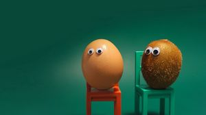 Preview wallpaper egg, kiwi fruit, eyes, chairs, funny, situation