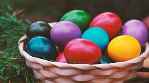 Preview wallpaper easter, eggs, colorful, basket