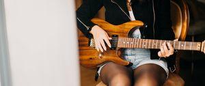 Preview wallpaper electric guitar, guitar, girl, guitarist, music