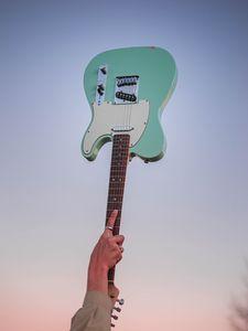 Preview wallpaper electric guitar, guitar, hand, sky, music