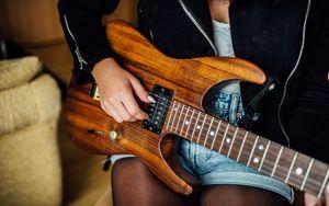 Preview wallpaper electric guitar, guitar, strings, hand, music