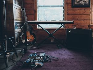 Preview wallpaper electric guitar, guitar, synthesizer, musical instruments, music, aesthetics