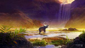 Preview wallpaper elephant, boy, river, spray, waterfall, photoshop