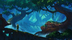 Preview wallpaper elf, archer, forest, trees, fantasy, art