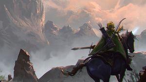 Preview wallpaper elf, bow, arrows, rider, fantasy, art