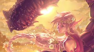 Preview wallpaper elf, dungeons and dragons, dragon, art
