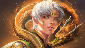 Preview wallpaper elf, eyes, dragon, friendship