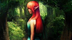 Preview wallpaper elf, girl, forest, green