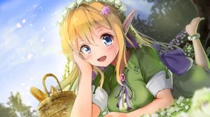 Preview wallpaper elf, girl, glance, anime