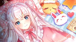 Preview wallpaper elf, girl, glance, book, anime