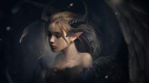 Preview wallpaper elf, horns, fantasy, art