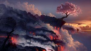 Preview wallpaper eruption, lava, volcano, oriental cherry, tree