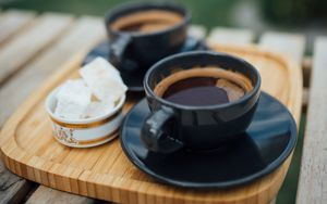Preview wallpaper espresso, coffee, drink, cups, breakfast