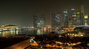 Preview wallpaper evening, lights, road, street, singapore