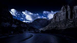 Preview wallpaper evening, road, rocks, sky