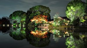 Preview wallpaper evening, trees, light, house, coast, japan, reflection, boat
