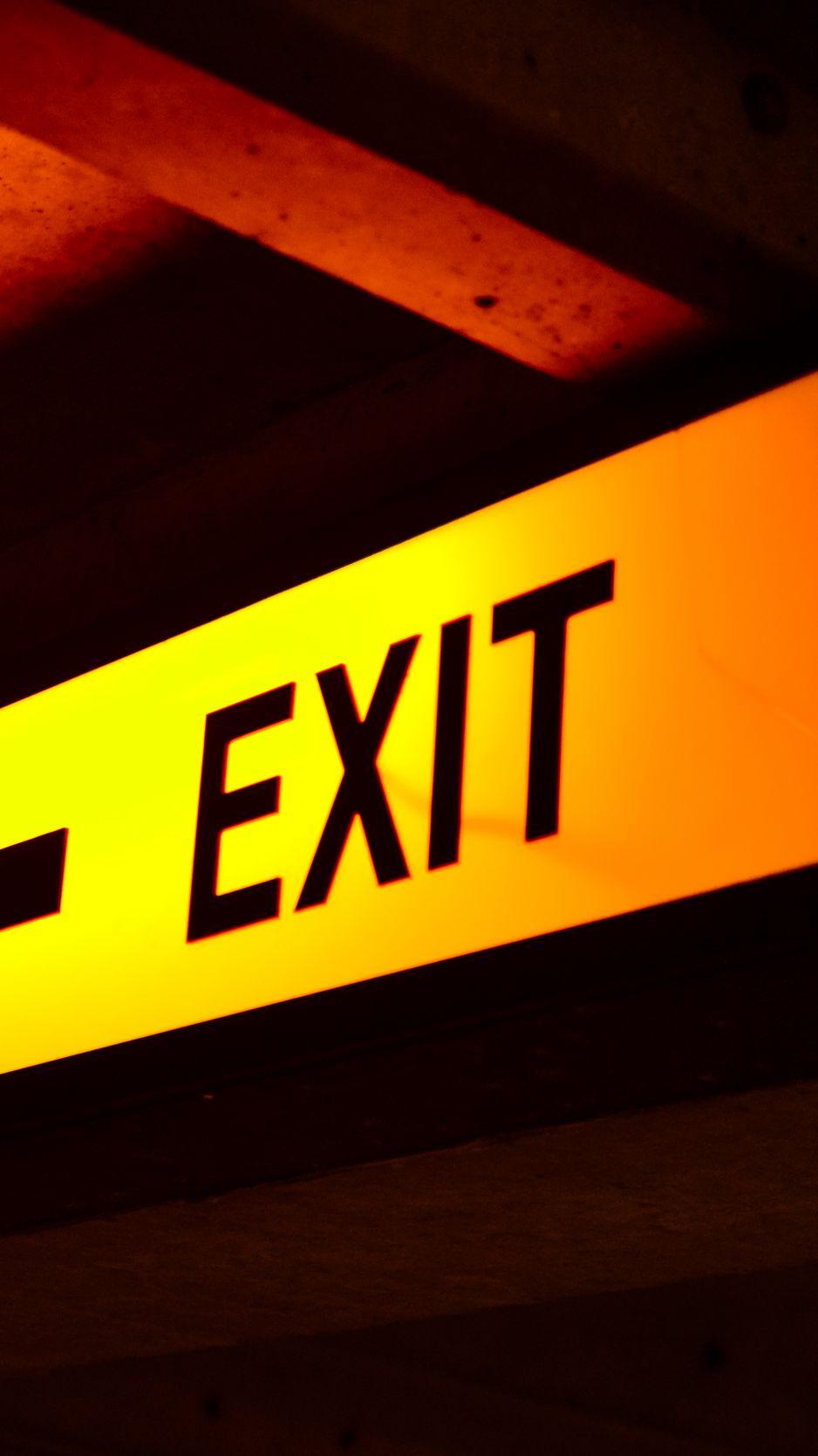 938x1668 Wallpaper exit, word, pointer, yellow, dark