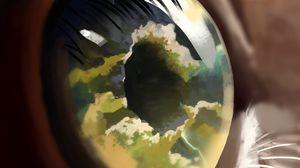 Preview wallpaper eye, pupil, reflection, clouds, art