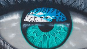 Preview wallpaper eye, pupil, shapes, graffiti, street art