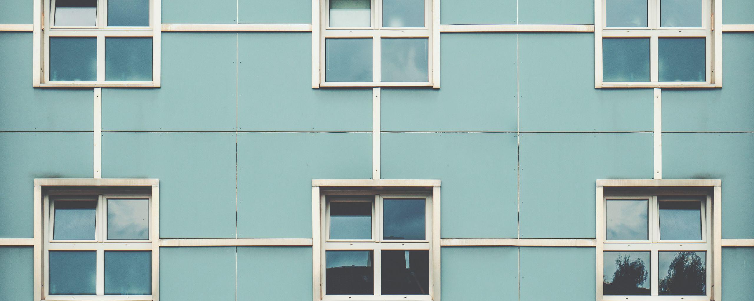 2560x1024 Wallpaper facade, windows, building