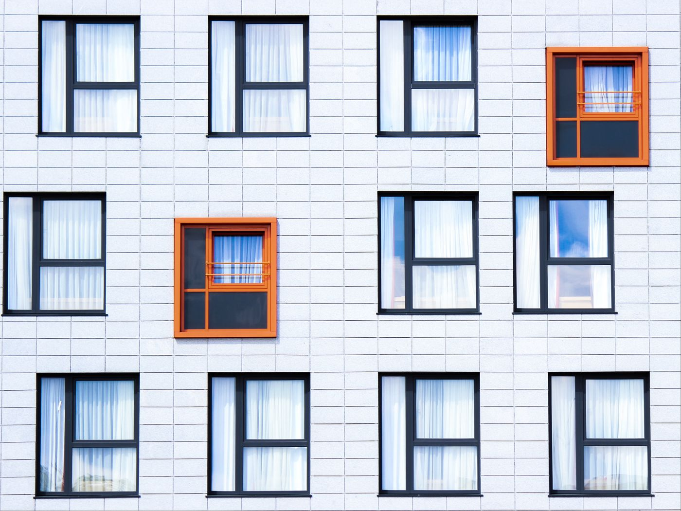 1400x1050 Wallpaper facade, windows, building, minimalism, contrast