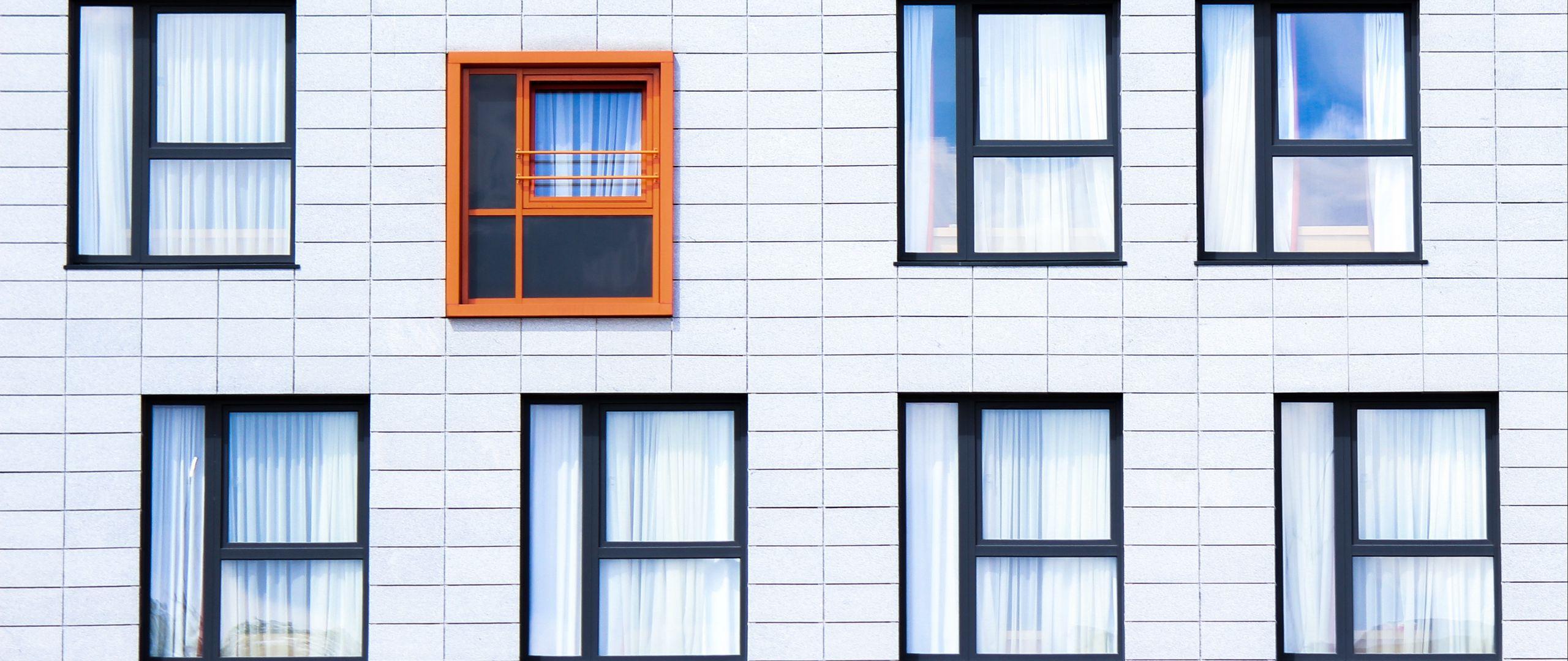 2560x1080 Wallpaper facade, windows, building, minimalism, contrast