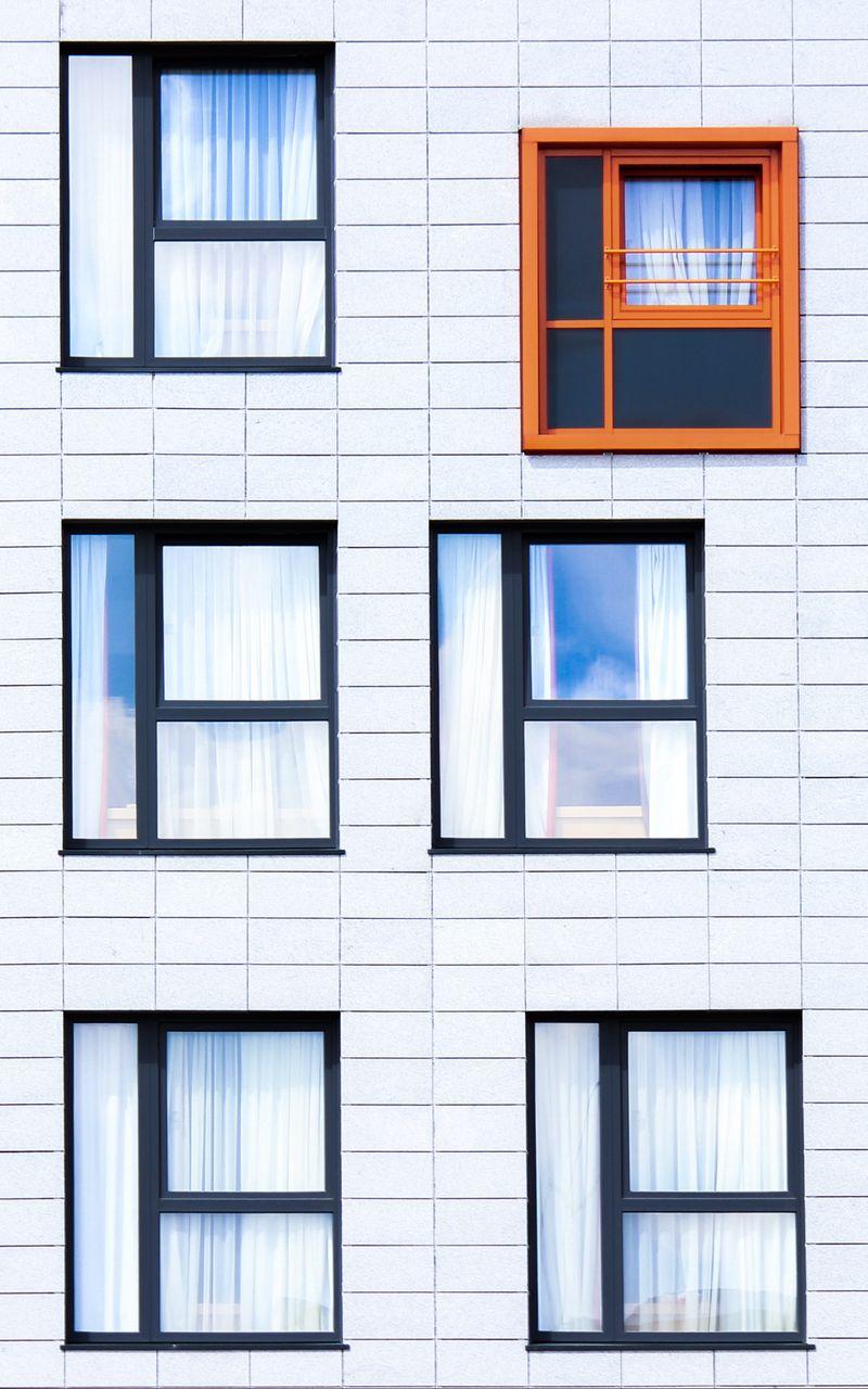 800x1280 Wallpaper facade, windows, building, minimalism, contrast
