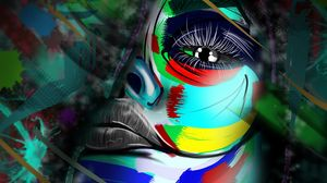 Preview wallpaper face, colorful, art, paint, spots