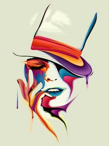 Preview wallpaper face, drawing, vector, paints, color, amazing