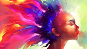 Preview wallpaper face, hair, paint, colorful, abstract