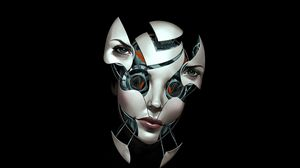 Preview wallpaper face, robot, connection, broken, dark background
