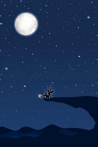 Preview wallpaper fairy, art, vector, precipice, full moon