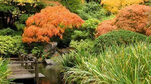 Preview wallpaper fall, pond, bridge, trees