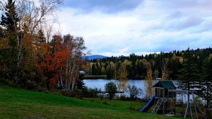 Preview wallpaper fall, pond, childrens playground, landscape