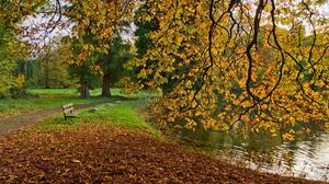 Preview wallpaper fall, pond, shop, nature