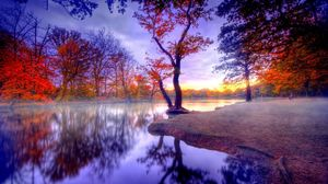 Preview wallpaper fall, silence, trees, lake