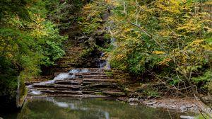 Preview wallpaper fall, waterfall, rocks, trees, landscape