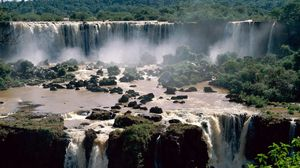 Preview wallpaper falls, brazil, stones, trees, iguassu falls