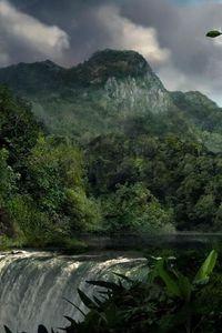 Preview wallpaper falls, jungle, wood, force, elements