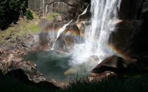 Preview wallpaper falls, rainbow, stones, stream, splashes, light, clearly