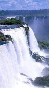Preview wallpaper falls, rocks, trees, steam, stream, force, power